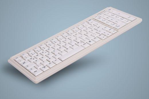 AK-7000-x-W, kompakte Desktop Tastatur mit Nummernblock, lichtgrau, kabelgebunden