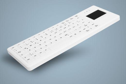 AK-C4400F-GFUS-W, desinfizierbare Funk Tastatur mit Touchpad, geeignet für Hygiene, weiß
