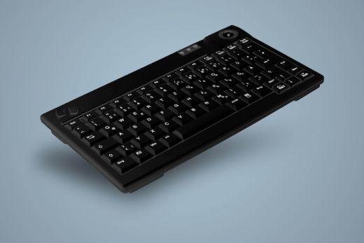 AK-440-Tx-B/xxE, kompakte, kabelgebundene Tastatur mit optischen Trackball, schwarz