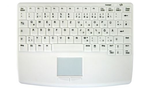 Compact sanitizable wireless keyboard with touchpad in front, IP68