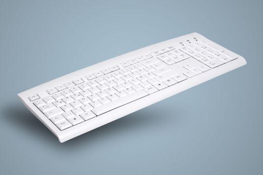 AK-8000-UV-W, waschbare Office und Desktop Tastatur, weiß, 0,2m Kabel + 1,8m Verlängerungskabel