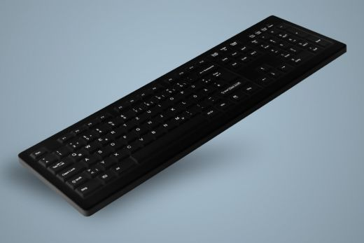 AK-C8100F-Ux-B, Sanitizable PC Keyboard for Cleaning and Hygiene, optional fully sealed, black, wired