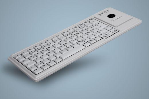 AK-4400-Tx-W, kabelgebundene Tastatur mit integriertem Trackball, weiß