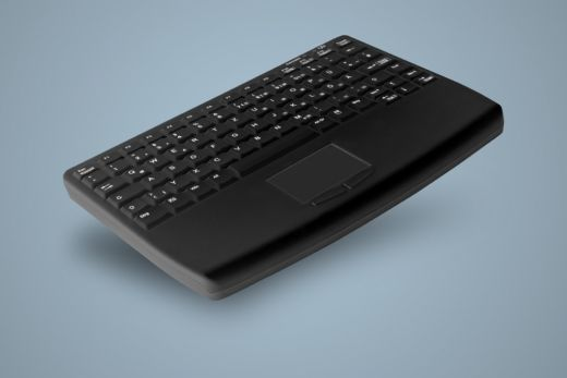 Compact sanitizable keyboard with touchpad in front, IP68
