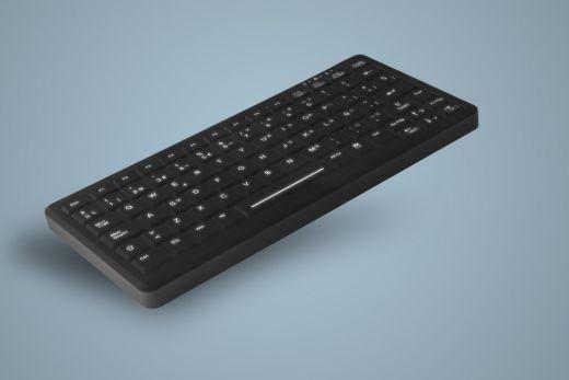 AK-CB4110F-Ux-B, beleuchtete, kompakte Hygienetastatur, schwarz, kabelgebunden, optional vollversiegelt