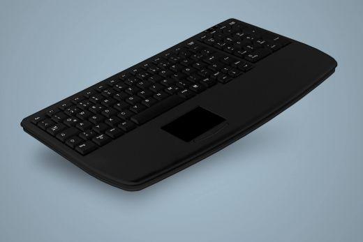 AK-7410-Gx-B, ultraflache Industrietastatur mit Touchpad und Nummernblock, schwarz, kabelgebunden