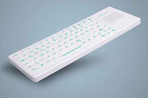 Beleuchtete desinfizierbare Tastatur mit Touchpad, geeignet für hygienekritische Bereiche, weiß