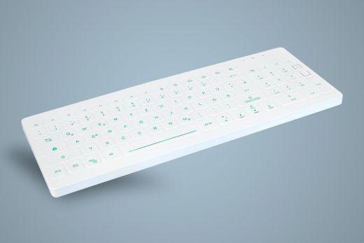 Beleuchtete desinfizierbare Hygiene-Tastatur mit Nummernfeld, weiss