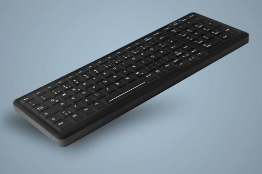 AK-CB7000F-Ux-B, beleuchtete, kabelgebundene Hygiene-Tastatur mit Nummernfeld, schwarz, wahlweise vollversiegelt