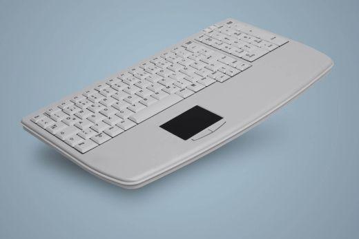AK-7410-Gx-W, ultraflache Industrietastatur mit Touchpad und Nummernblock, weiß, kabelgebunden